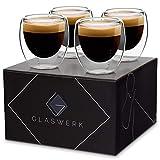 GLASWERK Design Espressotassen (4 x 70ml) - doppelwandige Espressogläser aus Borosilikatglas - spülmaschinenfestes Espressotassen Set