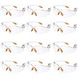 12er Pack Schutzbrille Augenschutz Schutzbrillen Arbeit mit Klaren Gläsern Gumminase Schutzbrille Baustelle Arbeitsschutzbrillen Kratzfest für Damen/Herren/Kinder