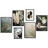 myestado - Premium Poster Set Bilder Wohnzimmer Modern Schlafzimmer Bild für Ihre Wand - ohne Rahmen - 4 x DIN A3 & 2 x DIN A4 - ca. 30x40 & 20x30 » Gold Leaf «