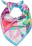 styleBREAKER Damen Dreieckstuch mit geometrischem Hirsch Print, Multifunktion Tuch, Halstuch, Kopftuch, Bandana 01016192, Farbe:Hellblau-Rosa-Grün
