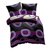 etérea Renforcé Baumwolle Bettwäsche -Charles Kreise - farbenfroh & ausgefallen und im modernen Stil glatt, strapazierfähig, 2 teilig 135x200 + 80x80 cm, Farbe: Pflaume