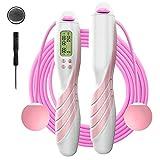 iMoebel Springseil digital Zähler Verstellbar - Speed Rope Seilspringen mit Stahl Seil Anti-Rutsch Schwerer ergonomisch Griffe, Kalorienzähler Timer für Fitness Boxen Abnehmen Crossfit (Pink)