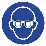 Anro Gebotsschild Augenschutz Tragen M004   Sicherheitsschild aus PVC 10 x 10 cm   Hinweis-Schild für Betriebe, Produktionen & Flughäfen  