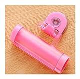 Without Bad-Accessoires Bad-Zubehör-Set Kunststoff-Rollen-Schlauch-Quetscher Zahnpastaspender Sauger-Halter-Zahncreme Badezimmer Manuelles Syringe Gun Dispenser (Color : Pink)