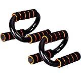 Good Times Liegestütz Griffe, Liegestützgriffe, Push up Bar aus Stahl mit Schaumstoffgriffen, Liegestützgriffe Handgelenkschonend' ergonomisches Design für Krafttraining, Calisthenics (Orange)