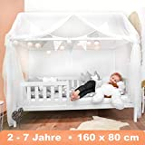 Alcube Hausbett 160x80 cm - stabiles Kinderbett mit wechselbarem Rausfallschutz und Lattenrost - weiß lackiert - aus Kiefernholz für Jungen und Mädchen - Geeignet für Vorhänge und Himmeldekoration