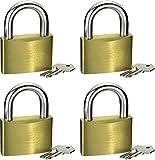 CON:P Vorhangschloss 40 mm - 4 Stück - Gleichschließend - Körper aus Messing - Bügel aus Stahl - Mit 8 Schlüsseln / Vorhängeschlösser im praktischen Set / Bügelschloss / B34006