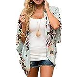 JORYEE Damen Florale Kimono Cardigan - Tops Cardigan Chiffon Shawl Bluse Sommer Boho Strand Cover up Leichte Jacke Oberteil (Grün, M)