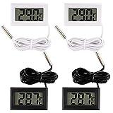 metagio 4 Stück Digital LCD Thermometer Temperatur Monitor, mit externer wasserdichter Sonde, Temperaturüberwachung, für Kühlschrank Gefrierschrank Kühlschrank Aquarium, Fishtank Wasser