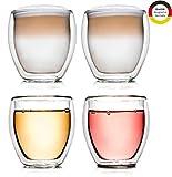 Creano doppelwandiges Thermoglas, 250ml, 4er Set, hitzebeständiges Kaffeeglas/Teeglas aus hochwertigem Borosilikatglas (DG-Bauchig)