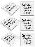 Bada Bing 6er Set Mit 120 Stück Servietten Spruch Weiß Edel Papierservietten'Schön, dass Ihr mit uns feiert''Mit Euch feier ich am liebsten' 80