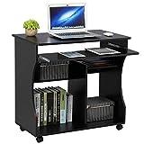 Yaheetech Computertisch mit Tastaturauszug, rollbar Schreibtisch mit Ablagen, Büromöbel, Compuerwagen, Schwarz