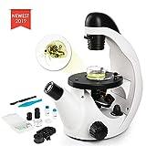 TELMU Mikroskop - Umgekehrtes Mikroskop mit einer Vergrößerung von 40X-320X, wissenschaftliches biologisches Mikroskop für kleine Kinder mit einem Handysauger