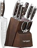 homgeek Messerblock Set, Profi Messerset mit Ergonomischer Griff aus Pakka-Holz, Extra Scharf deutschem Edelstahl 1.4116 Kochmesser Set mit Holzblock, 8-teiliges (Braun 1)
