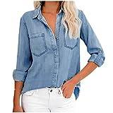 Lulupi Damen Bluse Langarm Hemd Shirt 3/4 Arm Jeansbluse Casual Elegant Jeanshemd V Ausschnitt Denim Hemdbluse Frauen Langarmshirt Oberteil Tops