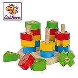 Eichhorn Steckplatte, 21-teilig, Buchenholz, 5 verschiedene Stecksymbole, 20 Steckteile, für Kinder ab 12 Monaten, Größe: 18 x 10 cm