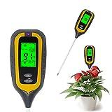 KETOTEK Bodentester 4 in 1 pH Feuchtigkeit Licht Temperatur Messgerät Digital pH Wert Messer Meter Tester Bodenfeuchtemesser Erde Garten Pflanzen Rasen Bodenfeuchtesensor