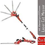 Grizzly Elektro Kombi Heckenschere EKHS 500-51, herausnehmbarer Teleskopstiel, 2 Heckenscheren zu 1 Preis, 500 W, 3.5 m Schnitthöhe