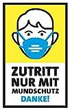 FRUITPRINTS StarfruitSigns | 3er Set Aufkleber, Zutritt nur mit Mundschutz, Format 13 x 21 cm, Gelb & Blau, Hinweis für Tür Fenster Wand