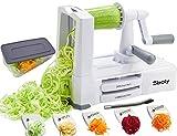 Gemüse Spiralschneider Gemüseschneider mit 5 Klingen, Zucchini Spaghetti Gerät Zoodle Gerät Veggie Pasta Gerät, Stärkster und Robustester Mandoline Schneider mit Container
