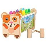 BeebeeRun Montessori Holzspielzeug Klopfbank Hammerspiel mit 2 Schlägeln für 2 3 4 5 Jahre Alt Kinder, das Erste Pädagogische Kinderspielzeug für Meine Kleinkinder 【E20200101-Murmeltier】