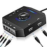 USB Soundkarte Extern, PHOINIKAS Externe Soundkarte mit verstellbarem Volume, Audio Adapter mit 3.5 mm Kopfhörer und Mikrofon Jack, 7.1 Surround Sound USB Hubs für Windows, Mac, PC, Laptop, PS4-6 in 1