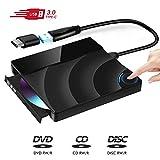 Externes CD DVD Laufwerk, USB 3.0 Touch Control CD/DVD +/- Rw Laufwerk, Portable DVD/CD ROM Reader Brenner Kompatibel mit Laptop Desktop Windows/Mac OS/Linux… (Black)