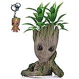 Kyhon Groot Blumentopf Figur - Übertopf Groß Aquarium Deko Figur Holz Aschenbecher Stiftehalter - Innen