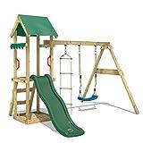 WICKEY Spielturm Klettergerüst TinyCabin mit Schaukel & grüner Rutsche, Spielhaus mit Sandkasten & Strickleiter