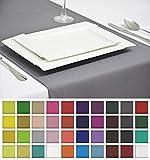 Rollmayer Edle Tischläufer Tischdecke Tischtuch Tischwäsche Pflegeleicht Kollektion Vivid (Silbergrau 31, 40x200cm)