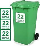 Vinyl Signs Direct Aufkleber für Mülltonnen, personalisierbar, Größe 18 cm x 18 cm, D1, 3 Stück