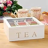 Koopman Teebox aus Holz, Teekasten in der Farbe weiß, Teekiste mit 9 Fächern, große Teebeutelbox, Auswahl: weiß