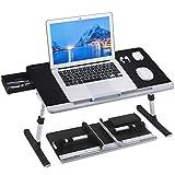 NEARPOW Laptop Bett Tisch PVC Leder Laptop Schreibtisch mit Schublade und Silikonstopfen Verstellbarer Faltbarer Für Essen, Arbeiten, Schreiben, Spielen, Zeichnen (schwarz-grau)