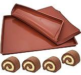 Silikon Backblech ZSWQ Biskuitrollenmatte Rollmatte Silikon Rollmatte Swiss Roll Backmatte Backblech für Kuchen 2 Stück,30 x 25 1.5 CM(Braun)