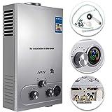 VEVOR 18L LPG Warmwasserbereiter Gas Propangas Durchlauferhitzer Warmwasserbereiter Boiler Warmwasserspeicher Tankless Instant mit Duschkopf und LCD Display