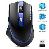TedGem Kabellos Maus, 2.4G Aufladung Funkmaus, Wireless Maus, Laptop Maus mit USB Nano Empfänger, 6 Tasten, 5 Einstellbare DPI für PC/Tablet/Laptop und Windows/Mac/Linux (Aufladung und Ruhig) (Blau)