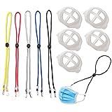 5 Stück Maskenband und innerer Silikon-Stützrahmen, verstellbare Länge, Umhängeband mit Clips, hält die Maske um Hals und Ohr, Maskenhalterung mehr Platz für bequemes Atmen, waschbar, wiederverwendbar
