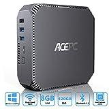 ACEPC Mini PC Windows 10 Pro, 8GB RAM 120GB ROM Intel Celeron J3455 Prozessor Mini Computer Unterstützung für mSATA / 2,5 '' SSD/HDD, 4K HD, Dual-Band WLAN, Gigabit Ethernet,Dual HDMI