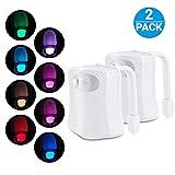 2 Stück Led Toilettenlicht, Das Nachtlicht Gadget für die Kloschüssel Lustiges LED Bewegungslicht für Toilettensitze. WC Badezimmerzubehörbeleuchtung, 8 Farben Wechselnde, Geschenke für Männer Väter