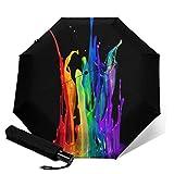 Automatischer Regenschirm Spritzlack Graffiti Reise-Regenschirm Vivid Sonnenschirme Kleine Größe Tragbarer Regenschirm Augenschutz & UV-beständig Dreifach Faltbares Reise-Zubehör für Unisex Outdoor