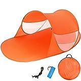 TecTake Pop Up Strandmuschel Wurfzelt 245x145x95 cm mit UV Schutz - Diverse Farben - (Orange | Nr. 401679)