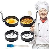 Spiegeleiform Edelstahl Pancake Form- Egg Ring, Küche Werkzeug Eierring enthält Ölbürste für Pochiertes Ei / Fleischpastete / Kekse (4 Packungen )