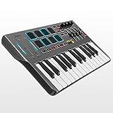 MIDI Keyboard Controller DMK25, Donner Professional 25 Tasten Mini USB Synthesizer Beatpad mit 8 hintergrundbeleuchteten Drum Pads, 4 Knöpfen und 4 Reglern, Schwarz