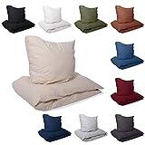 EllaTex Renforce Bettwäsche Set aus 100% Baumwolle, Größe: 135x200cm + 80x80cm, Farbe: Khaki