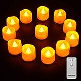 LED Kerzen, Qxmcov 12er LED Teelichter mit Fernbedienung, Flammenlose Kerzen Flackernde Flamme Teelicht, Dekorations-Kerzen für Hochzeit, Weihnachten, Party (Gelb)