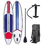 SUP Board Stand up Paddle Paddling Surfboard Galaxy Blau Rot 320x76x15cm aufblasbar Alu-Paddel Hochdruck-Pumpe Rucksack Kick-Pad 120KG
