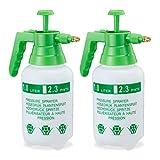 Relaxdays 2 x Pumpsprühflasche, einstellbare Messingdüse, Pflanzen Bewässerung, Schädlingsbekämpfung, 1 l Drucksprüher, grün