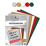 MarpaJansen Fotokarton in 5 Weihnachtsfarben, DIN A4, 15 Bogen, 300 g/qm