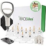 BACKLAxx® Schröpfset mit Vakuumpumpe - 12 Schröpfgläser aus Kunststoff zur Faszientherapie und Massage inkl. Lebenslanger Garantie und E-Book