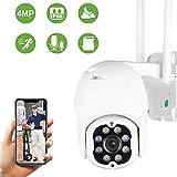 Aottom 4MP überwachungskamera Aussen, WLAN IP Kamera Outdoor, PTZ Dome WiFi Kamera, Zwei-Wege-Audio, Bewegungsmelder, 40m Nachtsicht, Message Push, IP66, Unterstützung 128G SD Karte (ohne)